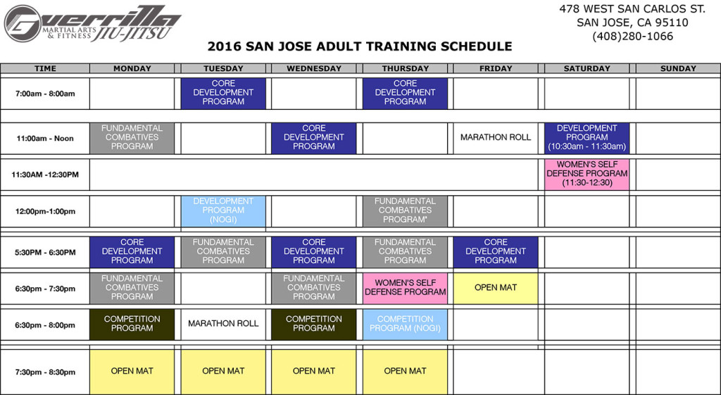 2016-Adult-Training-Schedule